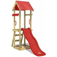 WICKEY Wooden climbing frame TinySpot red with swing set, Garden playhouse with sandpit, climbing ladder and play-accessories