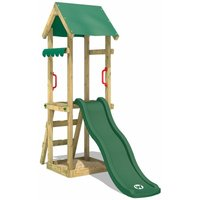 WICKEY Wooden climbing frame TinySpot green with swing set, Garden playhouse with sandpit, climbing ladder and play-accessories