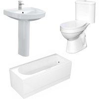 Neshome - Close Coupled WC Toilet Basin and Pedestal Bathroom Suite with Basin Tap and Bath Filler Taps Set