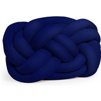 Cloud Knot Decorative Cushion - Woven - for Sofa, Bed - Blue made of Polyester, 40 x 5 x 32 cm - HOMEMANIA