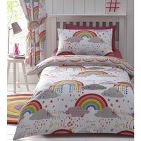 Clouds and Rainbows Single Duvet Cover Bedding Bed Set Reversible Childrens Girls Bedroom