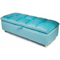 Coco Luxury Ottoman Storage Bench with Comfortable Padded Lid - Blue