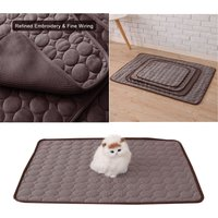 Coffee Pet Dog Puppy Self Cooling Mat Cushion Summer Cool Bed, L - LIVINGANDHOME