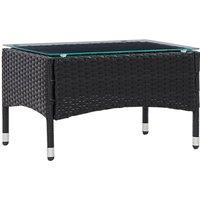 Zqyrlar - Coffee Table Black 60x40x36 cm Poly Rattan - Black