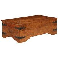 Coffee Table Solid Acacia Wood Sheesham Finish 110x55x35 cm - Brown - ZQYRLAR