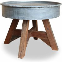 Coffee Table Solid Reclaimed Wood 60x45Cm Silver - ASUPERMALL