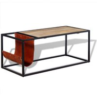 Zqyrlar - Coffee Table with Genuine Leather Magazine Holder 110x50x45 cm - Brown