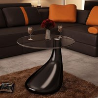 Coffee Table with Round Glass Top High Gloss Black - YOUTHUP