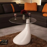 Coffee Table with Round Glass Top High Gloss White - YOUTHUP