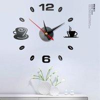 Coffee Wall Clock, 3D Frameless Silent Sticker DIY Mini Modern Art Mirror Wall Clock Frameless Wall Clocks for Living Room Office and Home Decor Gift
