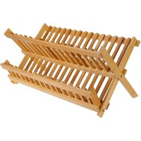 Collapsible Bamboo Drying Dish Rack 2 Tier Folding Dish Rack Wooden Wood Dish Drainer 47x28x3.7cm