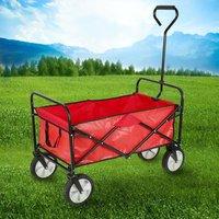 Collezione Utensili da Giardino - Carrello da giardino, pieghevole, per esterni, con borsa di custodia,Rosso - OOBEST