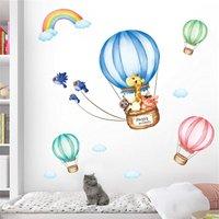 Briday - Color cute cartoon cute animal cloud hot air balloon children watercolor removable wall paste DIY decorated kindergarten baby boy and girl