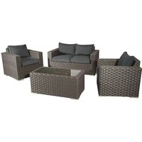 Colyton Rattan 4 Seat Lounge Set in Brown with Charcoal Cushions