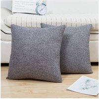 Comfy Throw Pillow Covers Cushion Cases Pack of 2 Linen Farmhouse Modern Decorative Solid Square Pillow Cases for Couch Sofa Bed (Charcoal Grey, 18 x