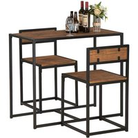 2 Seater 3Pcs Industrial Dining Table Set Wood grain color