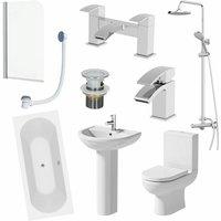 Complete 1700mm Bathroom Suite Bath Shower Screen Toilet Taps Basin Pedestal