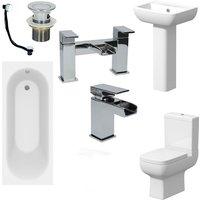 Complete Bathroom Suite 1500 Bath Single Ended Toilet Basin Taps