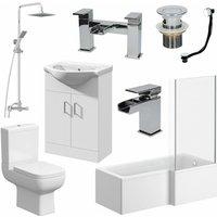 Complete Bathroom Suite 1500 L Shape RH Bath Screen WC Basin Vanity Unit Shower