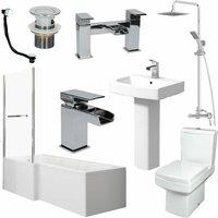 Complete Bathroom Suite 1600 L Shape Bath LH Screen and Rail Basin WC Taps Shower