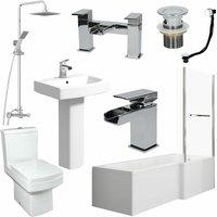 Complete Bathroom Suite 1600 L Shape Bath RH Screen and Rail Basin WC Taps Shower