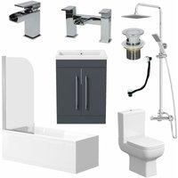 Complete Bathroom Suite 1700 Bath Screen WC Toilet Vanity Basin Taps Shower Grey