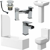 Complete Bathroom Suite 1700 Bath Single Ended Toilet Basin Taps - AFFINE