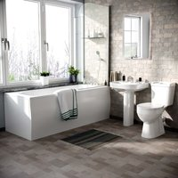 Neshome - Omaha Close Coupled Toilet, Full Pedestal Basin, Round Bath Tub and Screen Suite White