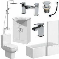 Essence - Complete Bathroom Suite L Shaped Bath RH Toilet Vanity Unit Taps