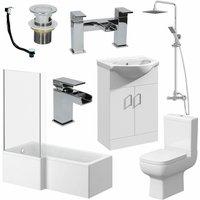 Essence - Complete Bathroom Suite L Shaped Bath Toilet Vanity Unit Shower