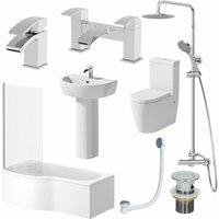 Affine - Complete Bathroom Suite LH 1700 Shower Bath Toilet Basin Pedestal Shower Tap Set