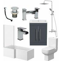 Affine - Complete Bathroom Suite LH L Shaped Bath Toilet Vanity Basin Taps Shower Grey