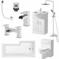 Affine - Complete Bathroom Suite lH L Shaped Bath Vanity Unit BTW Toilet Tap Set Shower