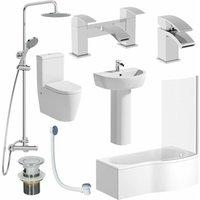 Affine - Complete Bathroom Suite RH 1700 Shower Bath Toilet Basin Pedestal Shower Tap Set