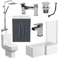 Affine - Complete Bathroom Suite RH L Shaped Bath Toilet Vanity Basin Taps Shower Grey