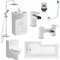 Complete Bathroom Suite RH L Shaped Bath Vanity Unit BTW Toilet Tap Basin Set