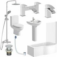 Affine - Complete Bathroom Suite RH Shower Bath 1700 Toilet Basin Pedestal Shower Tap Set
