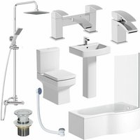 Affine - Complete Bathroom Suite RH Shower Bath Toilet Basin Pedestal Shower Taps Square