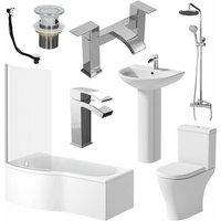 Complete P Shaped LH Bathroom Suite Toilet Basin Screen Shower