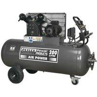 Sealey SAC3203B3PH Compressor 200ltr Belt Drive 3hp with Control Panel 415V-3ph