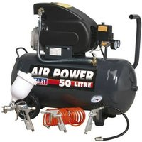 SAC5020EPK Compressor 50 Litre Direct Drive 2hp with 4pc Air Accessory Kit - Sealey