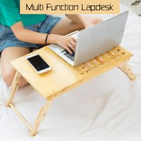 Insma - Computer Desk Portable Wooden Lapdesk Table Bed Tray Adjustable Breakfast Table Foldable Tilt Tray