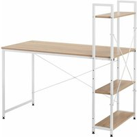 Merax - Computer Desk with 4 Tier Storage Shelves Natural