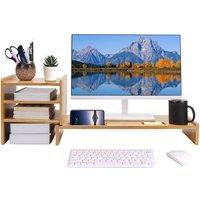 Computer Monitor Riser Desk Table LED TV Stand Shelf Desktop Laptop Save Space - UNHO