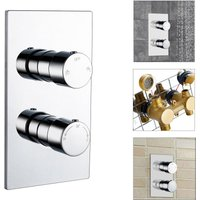 Round 2 dial 2 way Chrome Concealed Thermostatic Shower Mixer Valve Solid Brass WRAS - Aica