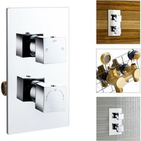Square 2 dial 2 way Chrome Concealed Thermostatic Shower Mixer Valve Solid Brass WRAS