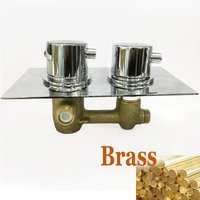 Round 1 Way Valve Chrome Concealed Thermostatic Shower Mixer Valve Solid Brass WRAS
