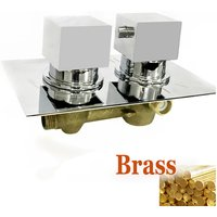 Square 1 Way Valve Chrome Concealed Thermostatic Shower Mixer Valve Solid Brass WRAS - Aica