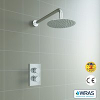 Concealed Round Thermostatic Shower Mixer Chrome Bathroom Twin Head Valve Set - Aica