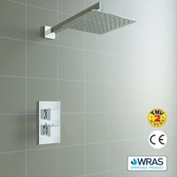 Concealed Square Thermostatic Shower Mixer Chrome Bathroom Twin Head Valve Set